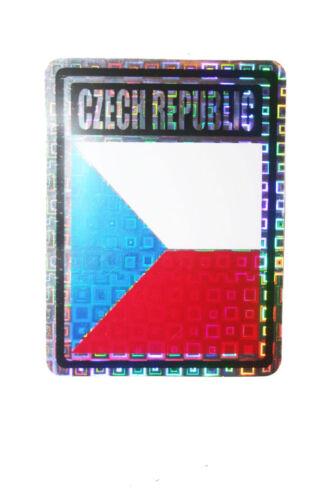4 X 3 INCH CZECH REPUBLIC COUNTRY FLAG  METALLIC BUMPER STICKER DECAL .