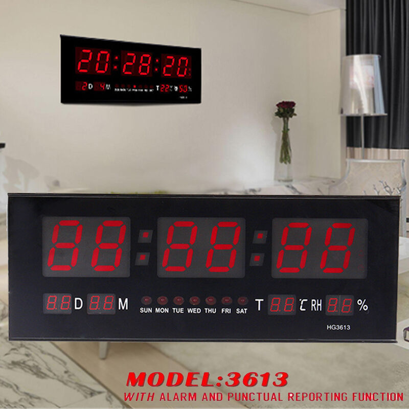 Big digital led home office desk calendar temperature date Digital led wall clock