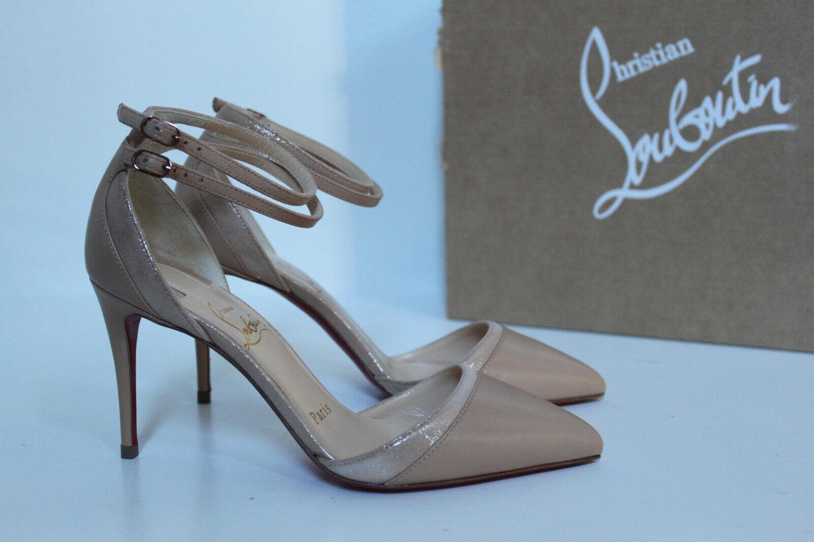 Sz 4   34 Christian Louboutin  Uptown Double Nude Leather Pointed Toe Pump scarpe  i nuovi stili più caldi