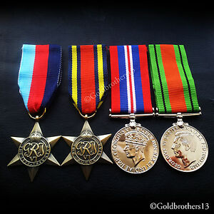 4x-Set-1945-star-Burma-Star-War-Medal-amp-Defence-Medal-WW2-Military-Medals-Repro