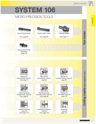 Full Radius Groove RH System 106 Insert, 2mm Depth GUHRING I.D 1mm Width