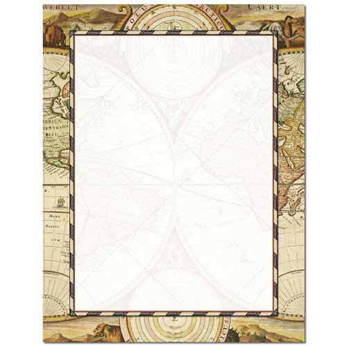25 or 100pk Old World Map All Occasion Letterhead