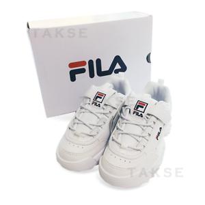 NUOVO Bambini FILA Disruptor II 2 KD Bianco FK1HTB1001X Kids 170-210mm takse 3GM01089