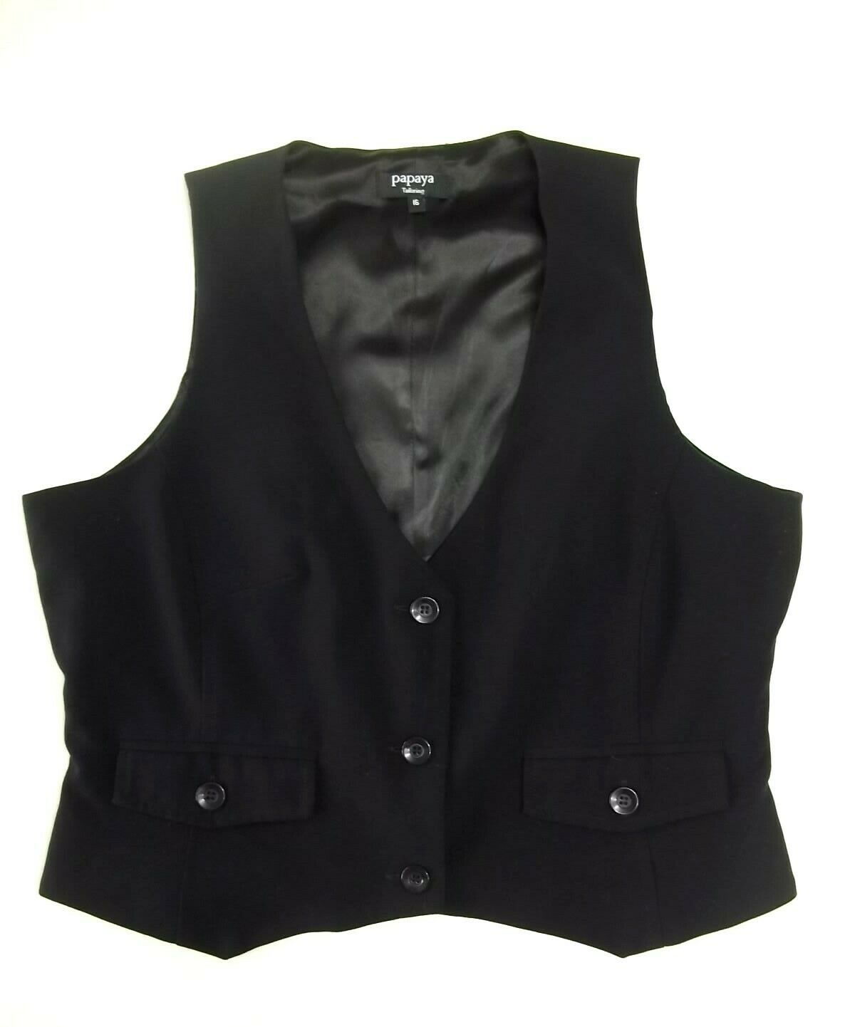 Ladies smart waistcoat Size 16 Papaya Black Lined Lovely condition RU1