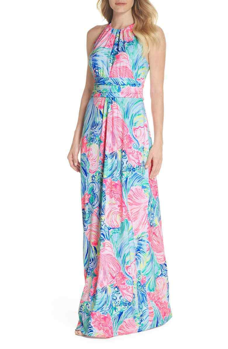 New Lilly Pulitzer MARTINA MAXI DRESS Multi Beach Please Bow Pink bluee XS S