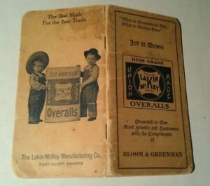 1911 LAKIN McKEY UNION MADE DENIM OVERALLS MEMO BOOK JOT IT DOWN Product History