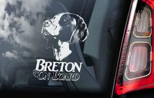 Breton-On-Board-Auto-Finestrino-Adesivo-Francese-Epagneul-Cane-V01
