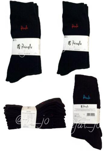 MENS PRINGLE SOCKS BLACK Size 7-11 8 Pairs Cotton