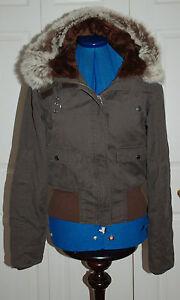harnais de Sz en fourrure New fourrure doublée 8 Manteau brun Blouson rouge avec en Coton peluche aviateur WHqO0q