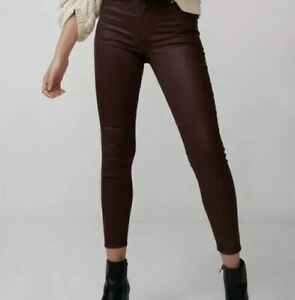 newest selection new high top-rated quality Details about Express Wine Burgundy Ankle Legging High Rise Stretch Coated  Jeans Size 00R