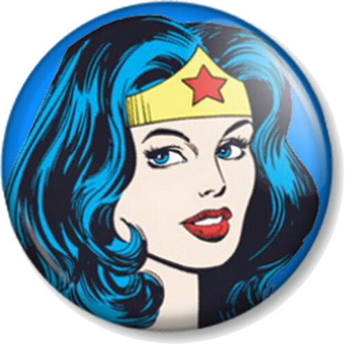 "Wonder Woman Face 25mm 1/"" Pin Button Badge Lynda Carter DC Comics TV Superhero"