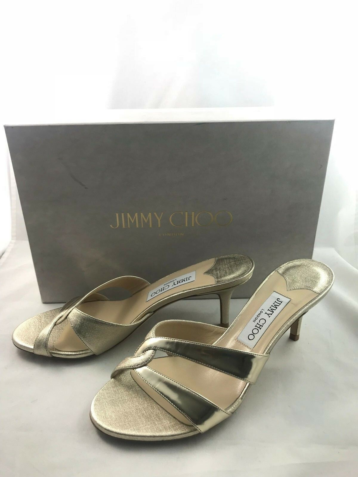 Jimmy Choo Tation Platinum Gold Slide Sandals With Box