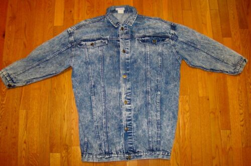 VTG RETRO 80s ACID WASH Washed AS IS BRAND Denim L