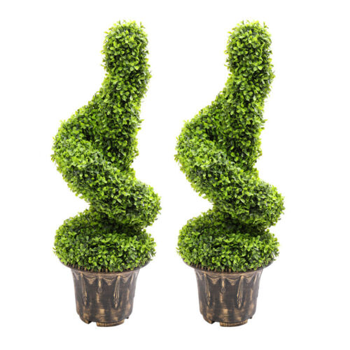 Artificial Boxwood Topiary Tree Swirling Spiral Hedge Anti-UV Leaf In Plant Pot