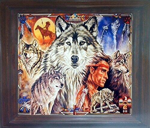 19x23 Indian Chief with Wolf Native American Brown Picture Framed Art Print
