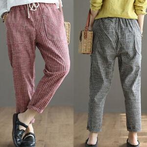 ZANZEA-Women-Elastic-Waist-Casual-Harem-Pants-Stripe-Pockets-Baggy-Trousers-Plus