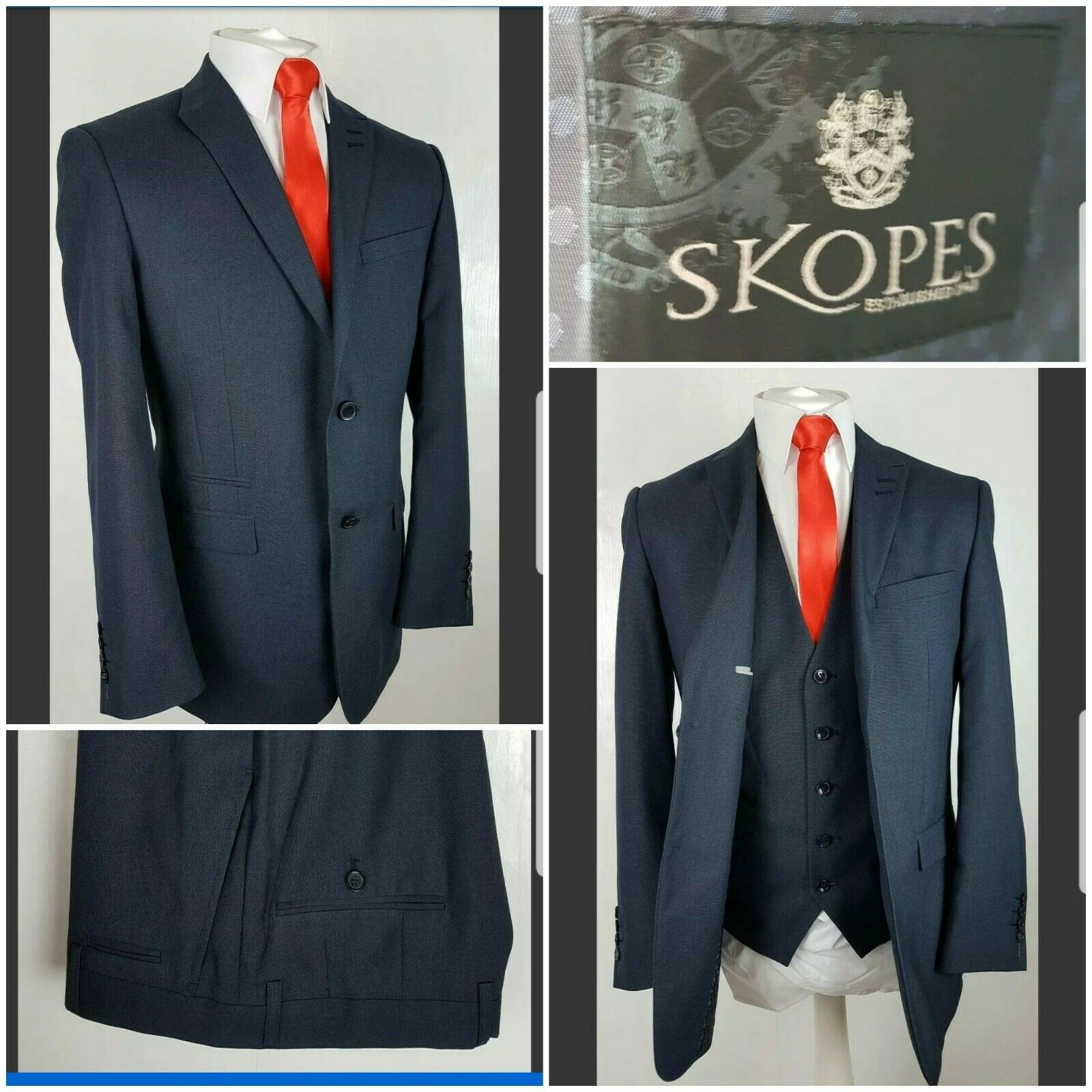 Skopes mens suit bluee 3 piece 'Sharpe' 38R W34 L31 WORN ONCE current style