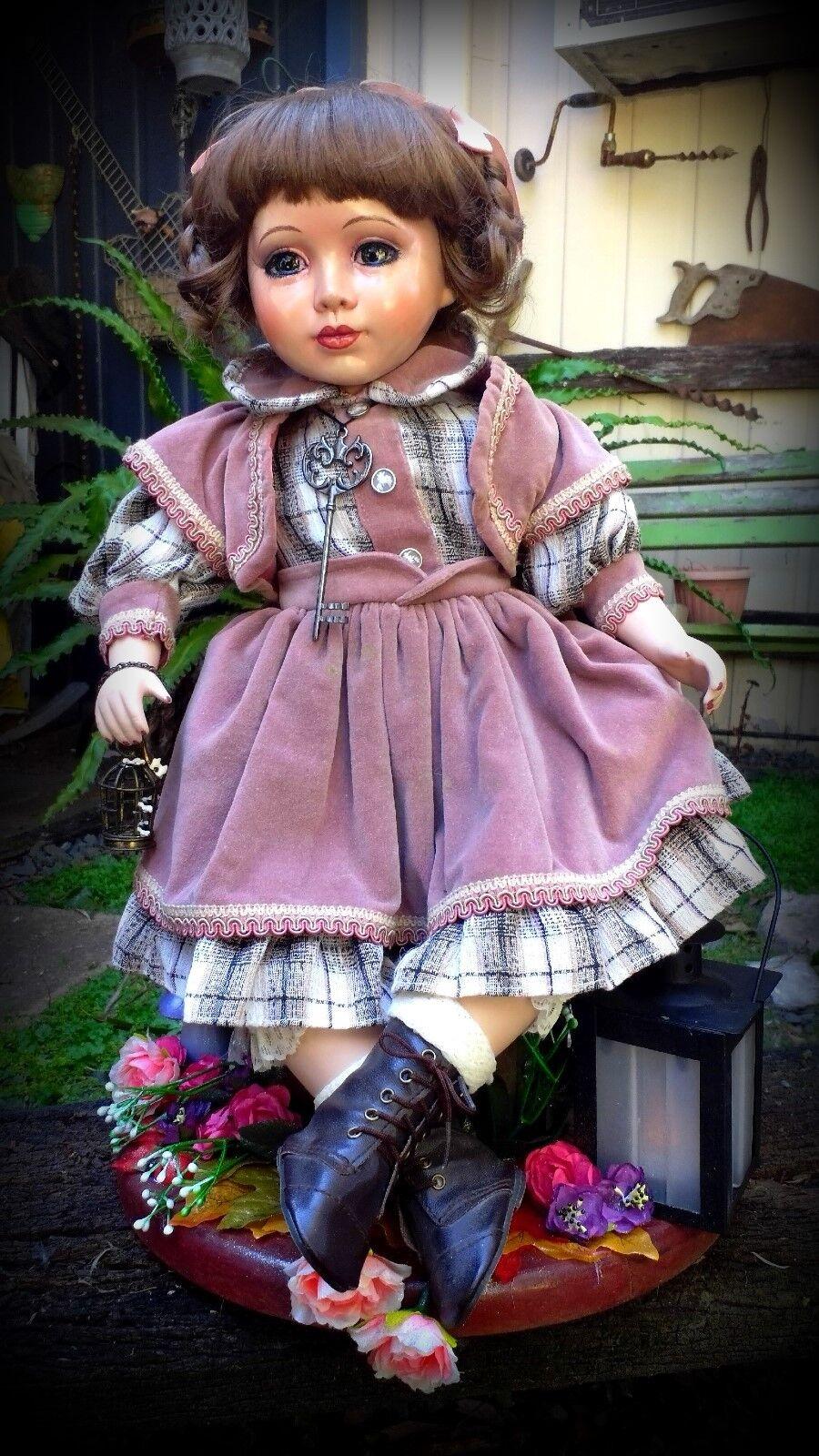 OOAK Porcelain Doll Faery Hunter Giselle fairy display