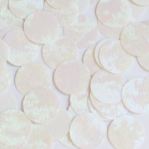 Round Sequin 30mm White Iris Rainbow Embosssed Swirl Texture Couture Paillettes