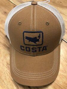 3c2fa6a6392 BRAND NEW COSTA DEL MAR TROUT TRUCKER CAP HAT BROWN - HOT HOT