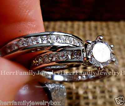 Sterling Silver Round cut Simulated Diamond Engagement Ring 2pc Wedding Band Set