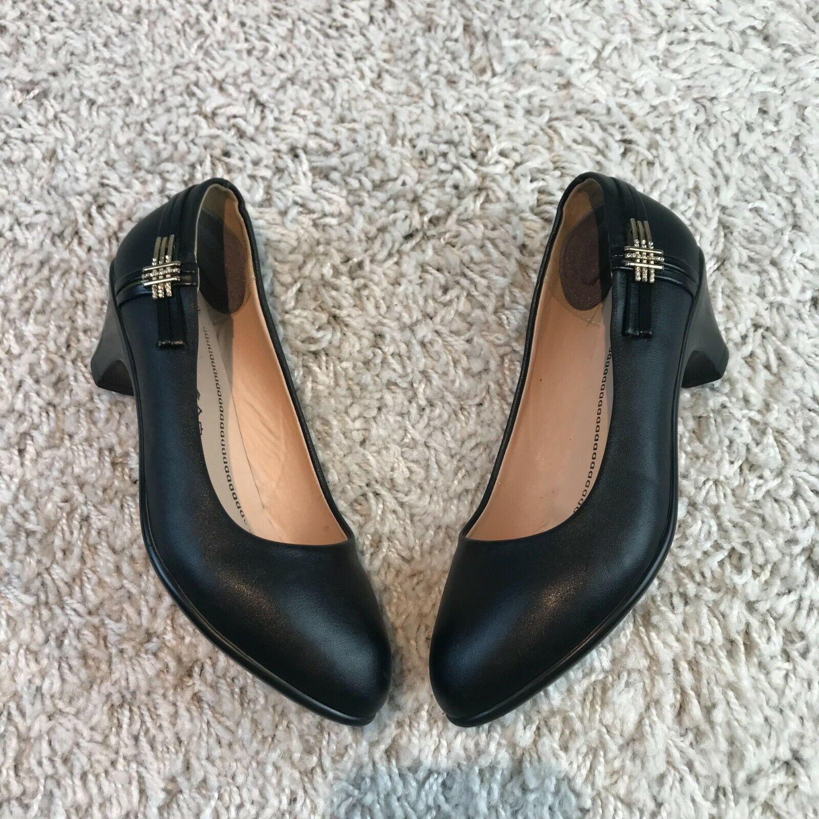 Womens Shoes UK 4 Eur 37 Black Leather Jewelled Court Shoes