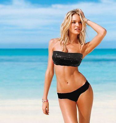 Black/Pink/Green Padded Bandeau Tube Sequin Swimwear Swimsuit Bikini Set
