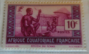 French-Equatorial-Africa-1937-40-Stamp-10c-MNH-Stamp-StampBook1-60