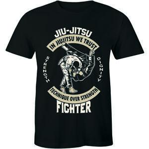 Jiu-Jitsu-Technique-Over-Strength-Fighter-Martial-Arts-Shirt-Men-039-s-T-shirt