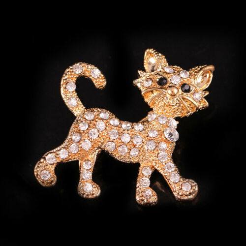 Rhinestone Cat Kitty Brooch Crystal Sparkly Encrusted Lucky Pin Accessories LH