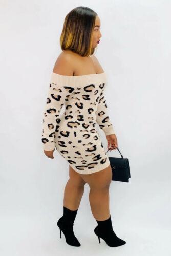 Autumn Winter Women/'s Boat Neck Long Sleeves Leopard Print Casual Bodycon Dress