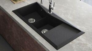 Details about Lavello Black Granite Composite Double Bowl Kitchen Sink  Diamond 150LT