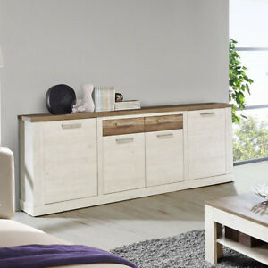 sideboard duro kommode anrichte schrank in pinie wei eiche antik ebay. Black Bedroom Furniture Sets. Home Design Ideas