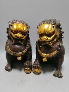 A Pair fengshui Old Carve Gilt Foo Fu Dog Door Lion Ball Guardian copper Statue