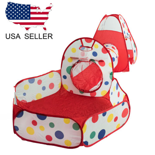 US Portable Kids Indoor Outdoor Play Tent Crawl Tunnel Set 3 in 1 Ball Pit Tent