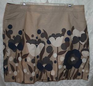 Boden-Womens-Skirt-14R-14-R-Straight-Pencil-Brown-Blue-Floral-Flowers