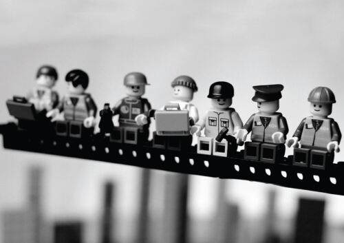 LEGO MEN ON A GIRDER NEW YORK A3 POSTER YF1054