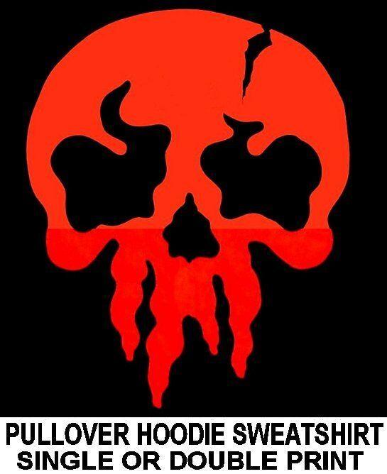 PUNISHER OLD SCHOOL EVIL DANGER GOTHIC GOTH WARNING ROT SKULL HOODIE SWEATSHIRT