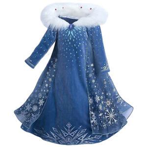 Details About Frozen 2 Olafs Frozen Adventure Elsa Kid Dress With Cloak Cosplay Child Costume