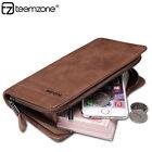New Men Genuine Soft Leather Clutch Zipper Purse Long Wallet Card Holder Case