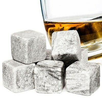 9PC WHISKY STONES REUSEABLE ICE CUBES GRANITE DRINKS COOLER - VODKA WINE WHISKEY