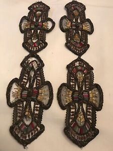 Latest Collection Of Pair Antique Art Deco Glass Beads Embroidered Metallic Cord Trim Dress Panels Clear-Cut Texture Other Antique Lace & Crochet Linens & Textiles (pre-1930)