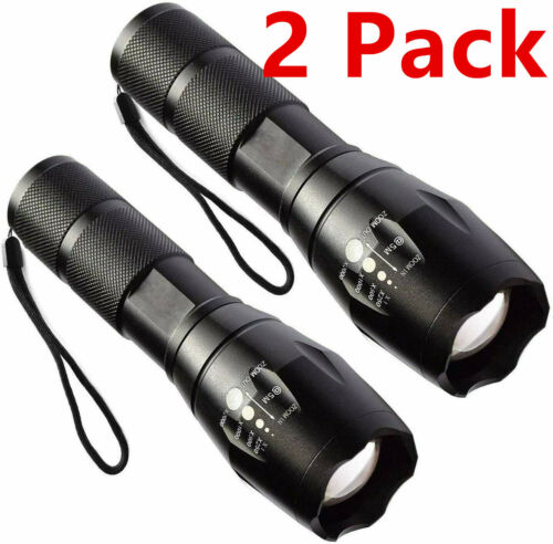 2 Pack Tactical Flashlight LED Super Bright 5 Modes Zoomable Aluminum Torch Lamp