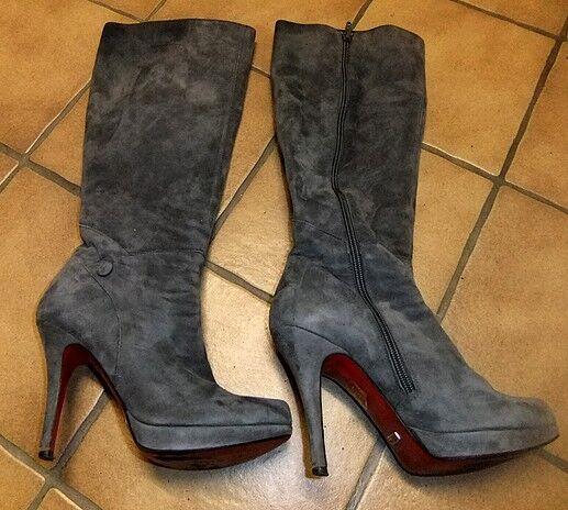 Elegante Buffalo High Heel Stiefel grau Wild Lederstiefel G37