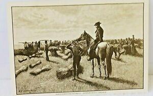 1887-Harpers-Weekly-Wheat-Farming-Harvest-Postcard-In-Dakota-Territory-ED118