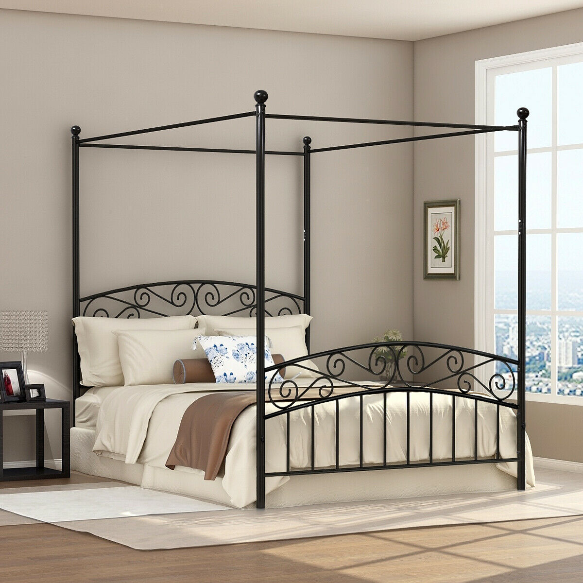 - Iron Metal Queen Size Canopy Poster Bed Frame Corner Posts For