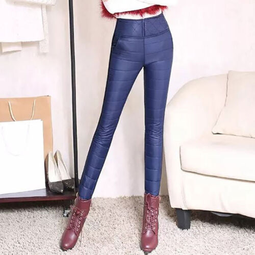 Womens Winter Warm Pants Windproof Down Stitching Slim Fit Trousers High Waist X