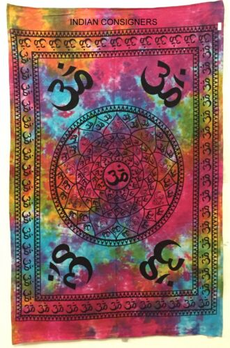 Peace Sound Om Poster Wall Hanging Tapestry Meditation Hippie Yoga Mat Tie-Dye