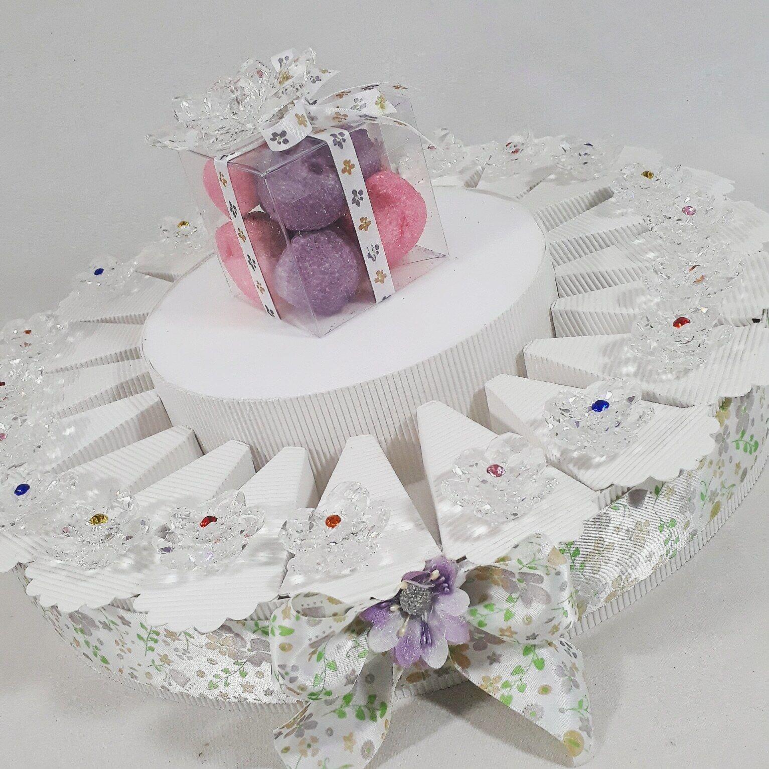 TORTA Bomboniere swarovsky fiore in cristallo con strass D'APPOGGIO 20 FETTE