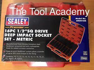 SEALEY-ak5816m-tief-Impact-Buchse-Set-10mm-32mm-1-2-Drive-amp-Aufbewahrungsbox